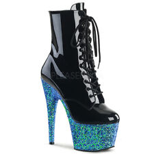"Pleaser 7"" blue glitter platform ankle dancer boots"