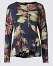 Ex Marks and Spencer Per Una Tropical Print Long Sleeve Blouse Size 8 22 (OR)