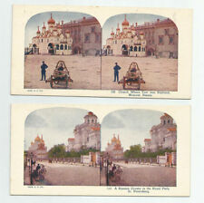 2 Stereoviews Russia 1925 St Petersburg Park Drosky Moscow Church Tsar Baptized