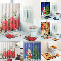 4Pc Bathroom Christmas Shower Curtain Pedestal Rug Lid Toilet Cover Bath Mat Set
