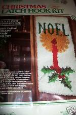 """NOEL CHRISTMAS CANDLE WALL HANGING LATCH HOOK KIT 12"""" x 27"""" From 1980"""