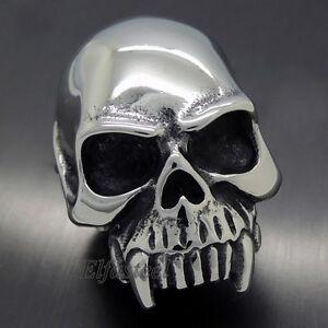 MEN'S Huge SKULL Teeth Band Design 316L Stainless Steel Biker Ring