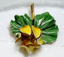 Vintage Gold Tone Yellow & Green FLOWER Lily Pad Pin  Brooch