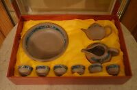 Oriental Tea Set 6 Cups 1 Bowl 2 Tea Set Boxed Hand Painted - Ceramic
