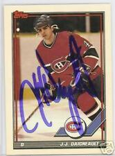 J J DAIGNEAULT Montreal Canadiens 1992 TOPPS  AUTOGRAPHED HOCKEY CARD JSA