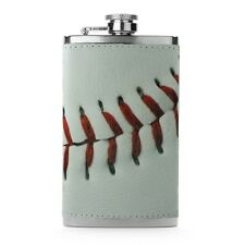 Leather Wrapped 6oz Stainless Steel Hip Flask FSK76 Baseball