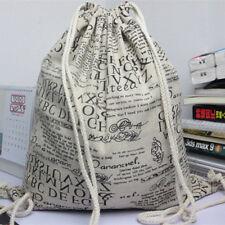 Cotton Linen Drawstring Backpack Student Gym Shoe Bag English Newspaper 614eS