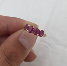 18ct Gold 4 Stone Ruby & Diamond Ring 18K 750.
