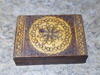Vintage Wood Burned Box Trinket Jewelry Swirl Flower Ornate Art