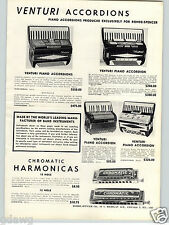 1957 PAPER AD Venturi Piano Accordion Pro Grade Criterion Trumpet Cornet Bugle