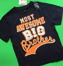 "*NEW! ""Most Awesome BIG Brother"" Boys Shirt 4 5-6 7-8 10-12 14 Gift Navy Blue SS"