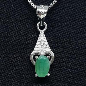 World Class .55ctw Colombian Emerald & Diamond Cut White Sapphire 925 Pendant