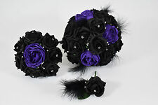 Black and Purple Bouquet Bundle with Feathers and Diamante - Bride, Bridemaid