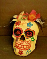Day of the Dead  Skull Female with Flowers Life Size Dia de los Muertos