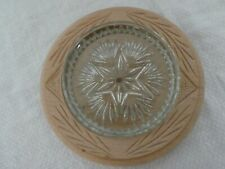 More details for lovely vintage carved wood surround english butter dish kitchenalia glass liner