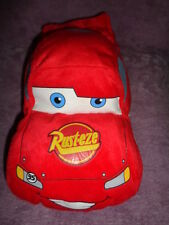 "Cars Disney Red Rust-eze Lightning McQueen 95 stuffed plush 12"" pillow w/ straps"