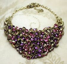 Vintage Unsigned Beauty Pink Purple Rhinestone Gold Tone Collar Bib Necklace