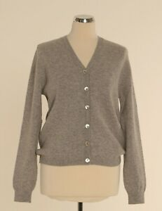 Ladies Pure Lambswool V-Neck Button Cardigan - Made in Hawick, Scotland