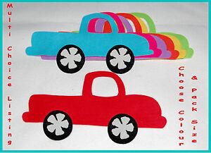 FELT CAR DIE CUTS MULTI CHOICE  Die Cut Car Appliques Blue Red Pink Topper
