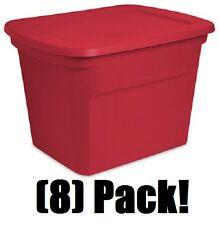 (8) Sterilite 17316608 18 Gallon Red Christmas / Holiday Storage Tote Containers