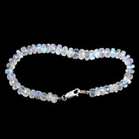 Natural Rainbow Moonstone Beaded Bracelet 5mm-7.8mm 925 Silver Clasp 7.5 Inch