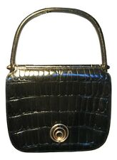 Vintage Designer Black Alligator Kelly Bag Handbag c1960s