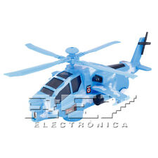Helicóptero Apache Azul Réplica Militar Juguete Niños Sonido Musica j156