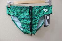Arena men Green print Swim Brief bikini swimwear size 34
