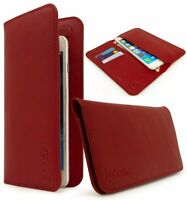 Universal Bi-Fold Wallet Case PU Leather Purse Clutch Style 2 pocket 3 slot- Red