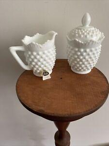 Vintage Fenton White Milk Glass Hobnail Creamer and Covered Sugar Bowl Set