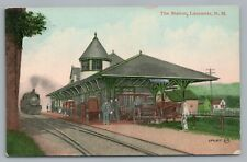 Train Depot LANCASTER NH Rare Antique Railroad Station Locomotive—Coos County