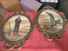 Vintage Old Bubble Glass Brass Color Framed Pictures