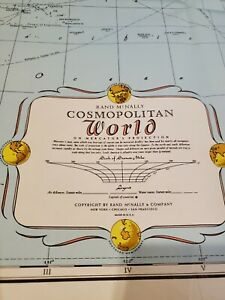 "Lot of 2 !!  Vintage Rand McNally Cosmopolitan World and U.S.A  Map 52"" x 34"