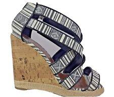 NEW LOOK Ladies Striped Wedge Heels Sandals Shoes  Women's UK 8  EU 42.