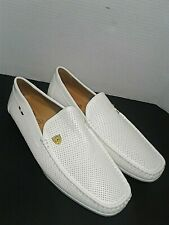 Bruno Marc x Ferrari White Leather Loafers Driving Flat Shoes 12 US Racing Boss