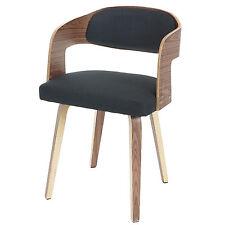 Chaise visiteur Gola, fauteuil, style rétro, bois de proue ~ tissu anthracite