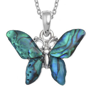Large Butterfly Necklace Blue Paua Abalone Shell - Gift Boxed