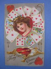 1910 VALENTINE  Postcard ...'' Queen of My Heart ! ''