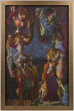 BELA BAN | Surrealist Composition with Figures, 1967 (Hungarian Painting)
