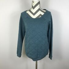 Alternative Pullover Sweatshirt Women's Solid Dusty Blue Quilted L/S, Size M NEW