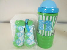 """Mud Pie Initial """"N"""" Sip-n-Munch Baby Cup and Initial Socks, Blue and Green, NWT"""