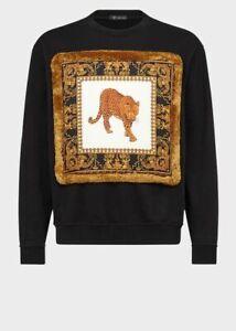 Versace Men's Leopard-print Cotton-jersey Black Sweatshirt; Size M; NWT