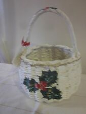 White Wicker Basket Hand Painted Flowers Christmas Holiday Holly Just Peachy VG