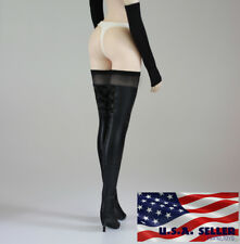 """1/6 Women Over The Knee High Heel Black Boots For 12"""" Hot Toys Phicen Figure USA"""