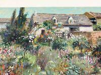 Henri Plisson signed Garden Serigraph on paper Impressionist landscape flowers