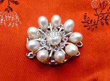 30mm Flower White Natural Pearl 3 strands Clasp for Jewelry Making Accessories