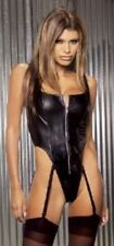 Sexy Elegant Moments Black Leather Zip Up Teddy Size L 14 - 16 #CB