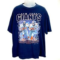 New York Giants Mens Blue XL T-Shirt Thunder Lightning Ron Dayne Tiki Barber Vtg
