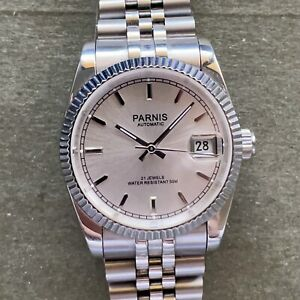 Parnis 36mm Silver Automatic Datejust Homage Watch w/ Jubilee Bracelet