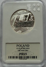 10 ZLOTYCH POLAND 2001 SILVER 925 THE YEAR 2001 MS69